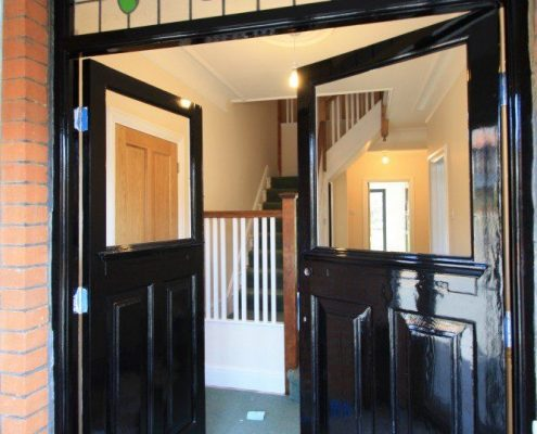 painting front doors black with Dulux